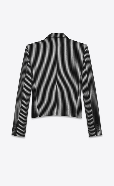 SAINT LAURENT Blazer Jacket U Single-Breasted Club Jacket in Black and Metallic Silver Striped Wool and Acrylic b_V4