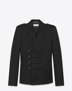 SAINT LAURENT Blazer Jacket U Military Double-Breasted Duffle Button Jacket in Black Wool f