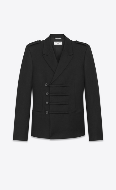 SAINT LAURENT Blazer Jacket U Military Double-Breasted Duffle Button Jacket in Black Wool a_V4