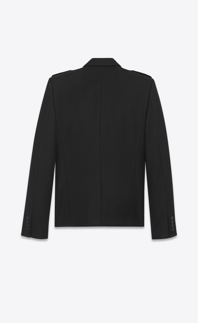 SAINT LAURENT Blazer Jacket U Military Double-Breasted Duffle Button Jacket in Black Wool b_V4