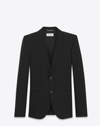 SAINT LAURENT Blazer Jacket U Classic Single-Breasted Jacket in Black Grain de Poudre f