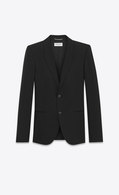 SAINT LAURENT Blazer Jacket Man Classic Single-Breasted Jacket in Black Grain de Poudre a_V4