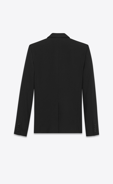 SAINT LAURENT Blazer Jacket Man Classic Single-Breasted Jacket in Black Grain de Poudre b_V4