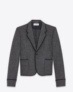 SAINT LAURENT Blazer Jacket U Single-Breasted Club Jacket in Anthracite Grey Virgin Wool Flannel f