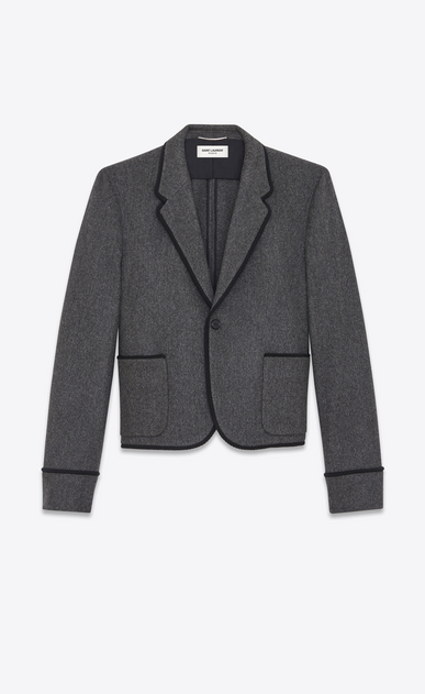 SAINT LAURENT Blazer Jacket U Single-Breasted Club Jacket in Anthracite Grey Virgin Wool Flannel a_V4