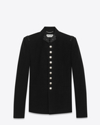 SAINT LAURENT Blazer Jacket U Officer Jacket in Black Brushed Suede f