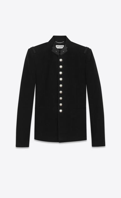 SAINT LAURENT Blazer Jacket U Officer Jacket in Black Brushed Suede a_V4