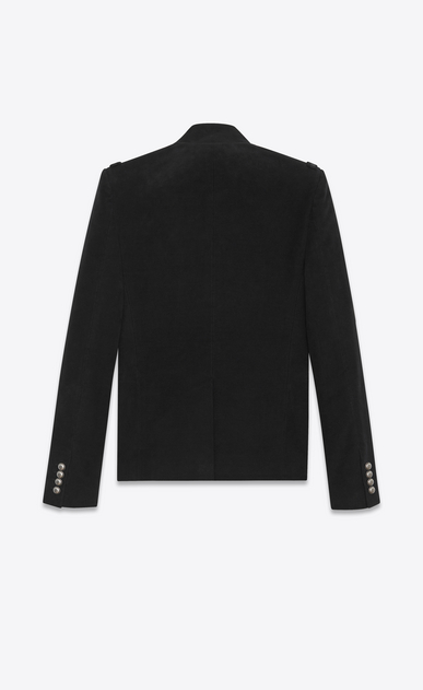 SAINT LAURENT Blazer Jacket U Officer Jacket in Black Brushed Suede b_V4