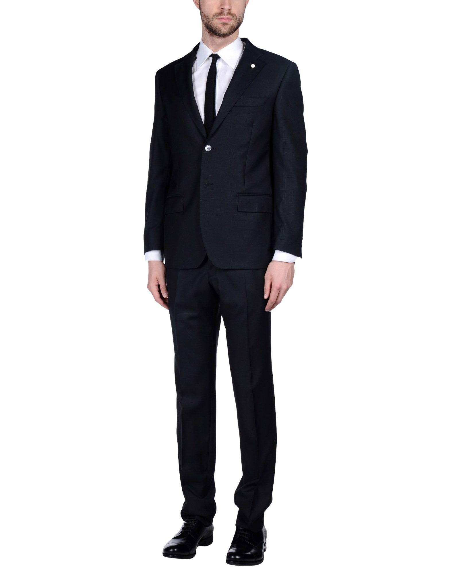 LUIGI BIANCHI Mantova Herren Anzug Farbe Schwarz Größe 6 jetztbilligerkaufen