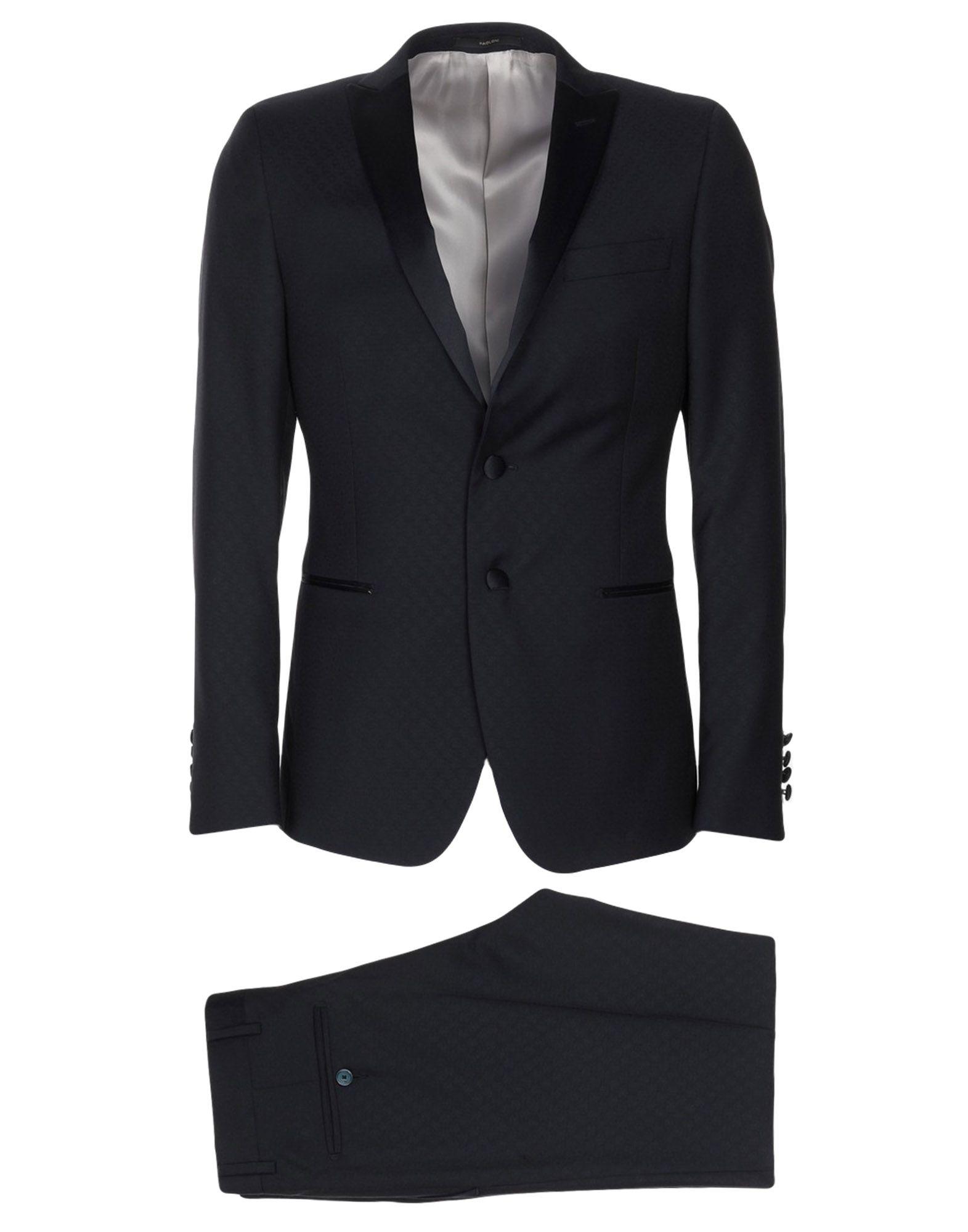《送料無料》PAOLONI メンズ スーツ ブルーグレー 46 バージンウール 100%