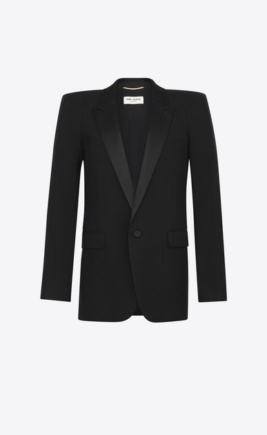 SAINT LAURENT Tuxedo Jacket Woman Tux jacket with square-cut shoulders in black gabardine a_V4