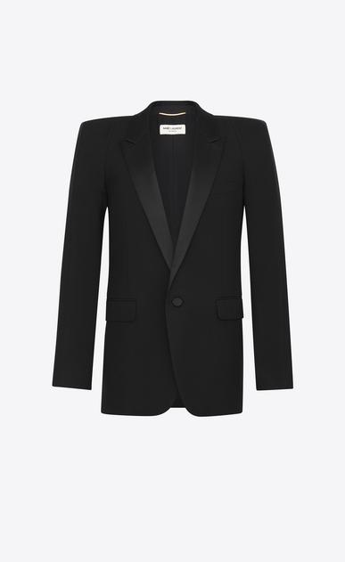 SAINT LAURENT Tuxedo Jacket D Tux jacket with square-cut shoulders in black gabardine v4