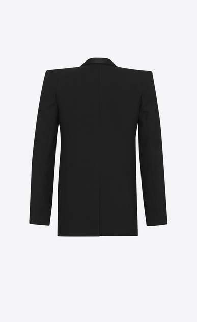 SAINT LAURENT Tuxedo Jacket Woman Tux jacket with square-cut shoulders in black gabardine b_V4