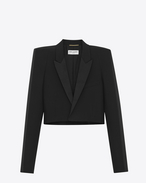 SAINT LAURENT Tuxedo Jacket D Short jacket with square-cut shoulders in black gabardine f