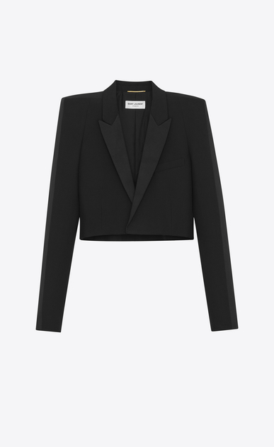 SAINT LAURENT Tuxedo Jacket Woman Short jacket with square-cut shoulders in black gabardine a_V4