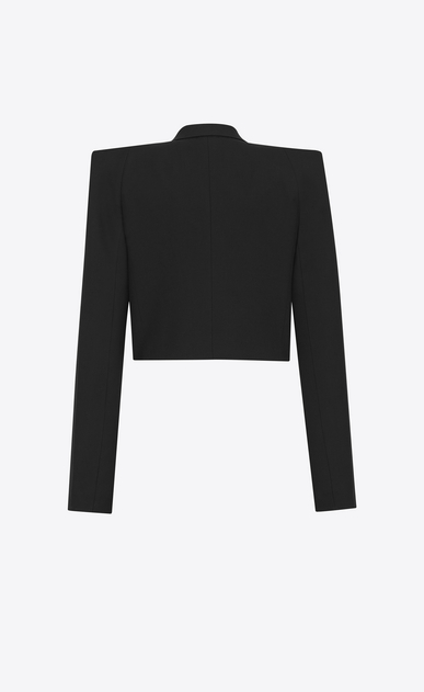 SAINT LAURENT Tuxedo Jacket Woman Short jacket with square-cut shoulders in black gabardine b_V4