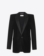 SAINT LAURENT Tuxedo Jacket D Tuxedo jacket with square-cut shoulders in black velvet f