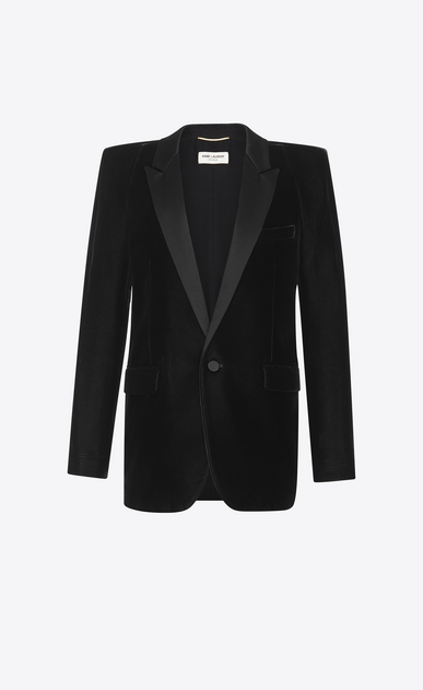 SAINT LAURENT Tuxedo Jacket Woman Tuxedo jacket with square-cut shoulders in black velvet a_V4