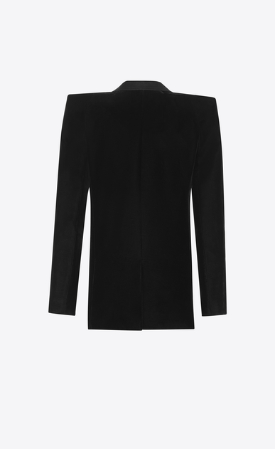 SAINT LAURENT Tuxedo Jacket Woman Tuxedo jacket with square-cut shoulders in black velvet b_V4