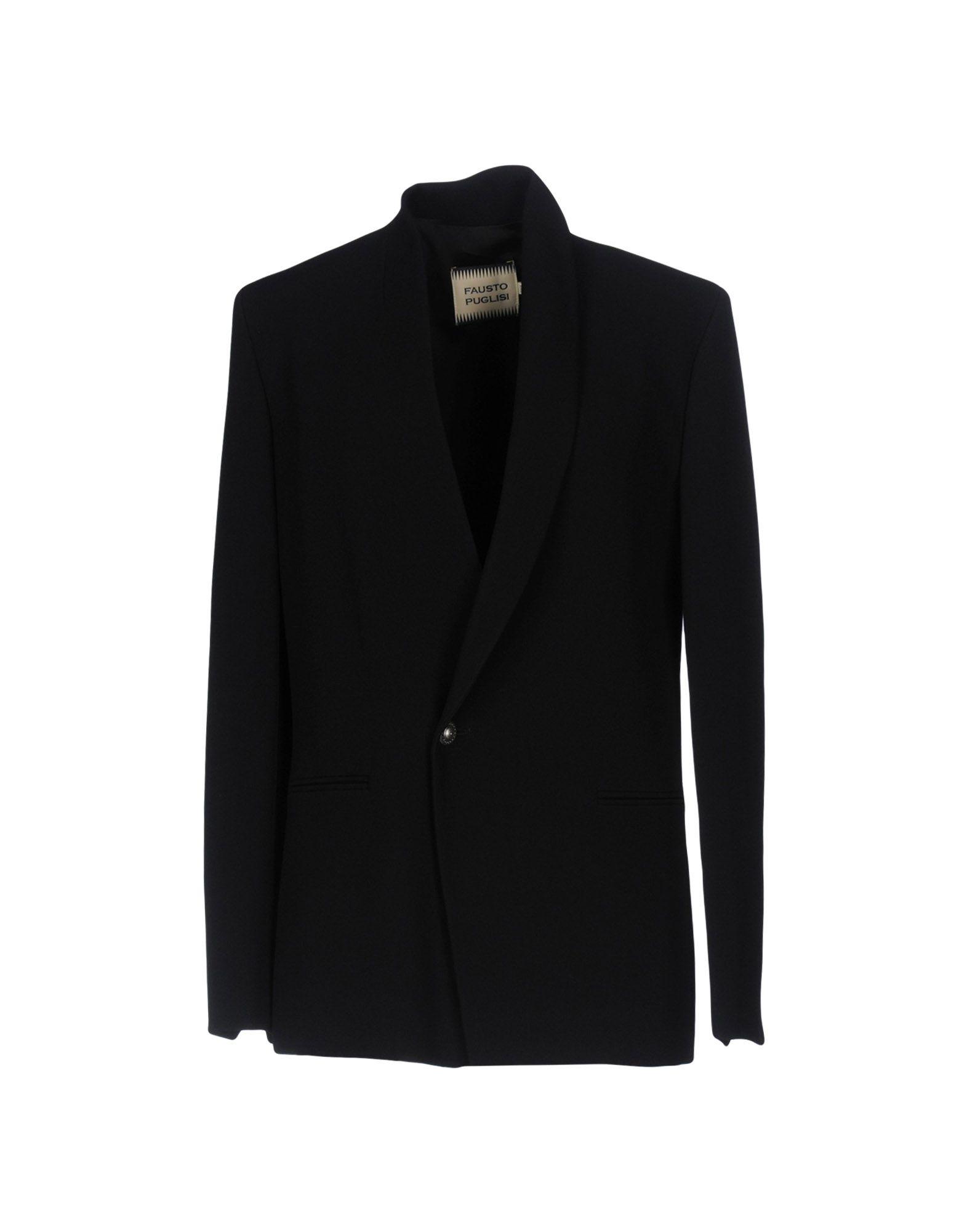 《セール開催中》FAUSTO PUGLISI レディース テーラードジャケット ブラック 44 アセテート 79% / レーヨン 21%