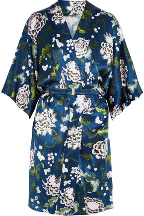 ADAM LIPPES Belted floral-print silk-satin kimono jacket