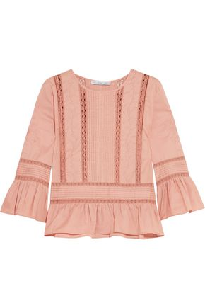 CHELSEA FLOWER Crochet-trimmed embroidered cotton top