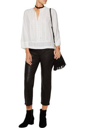 REBECCA MINKOFF Stella split-back embroidered crepe blouse