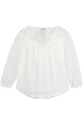 JOIE Lace-trimmed silk-chiffon top