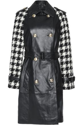 BOUTIQUE MOSCHINO Houndstooth wool-paneled leather coat