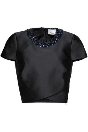 3.1 PHILLIP LIM Embellished wrap-effect duchesse-satin top