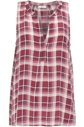 JOIE Aruna plaid washed-silk blouse