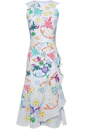PETER PILOTTO Ruffled printed crinkled poplin dress