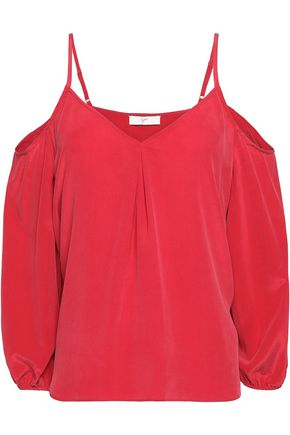 JOIE Cold-shoulder silk-crepe top