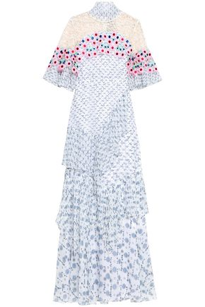 PETER PILOTTO Lace-paneled floral-print silk-georgette gown