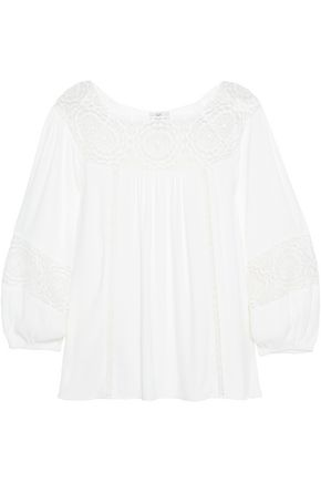 JOIE Lace-paneled crepe top