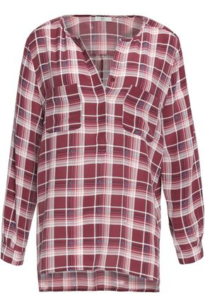 JOIE Nepal checked silk crepe de chine top