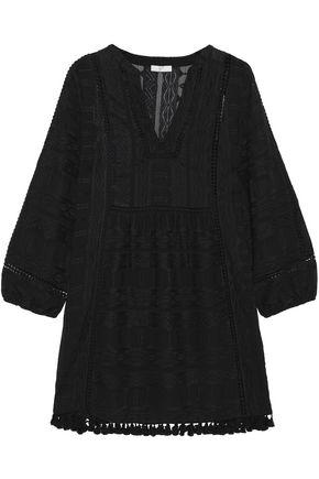 JOIE Tasseled embroidered voile mini dress