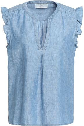 JOIE Ruffled linen and cotton-blend chambray top