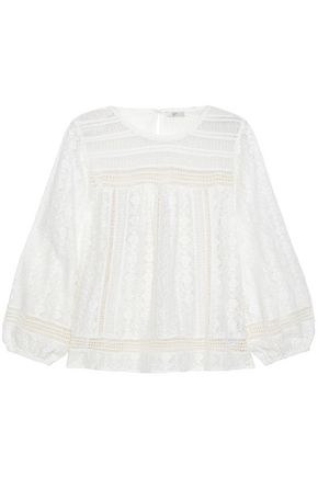 JOIE Flared cotton-blend lace blouse