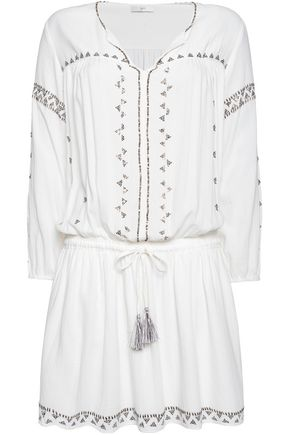 JOIE Laka embellished cotton-voile mini dress