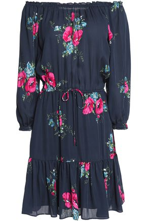 JOIE Marx off-the-shoulder gathered floral-print silk crepe de chine mini dress