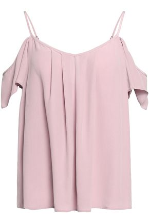 JOIE Cold-shoulder washed silk top