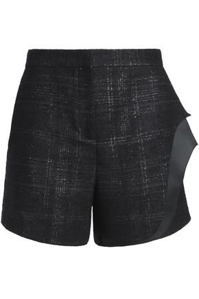VIONNET Layered checked wool-blend shorts