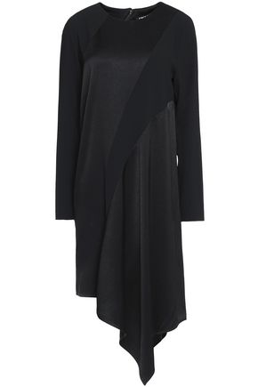 DKNY Asymmetric paneled-crepe and crepe de chine dress