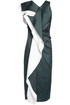 VIONNET Draped silk-blend midi dress