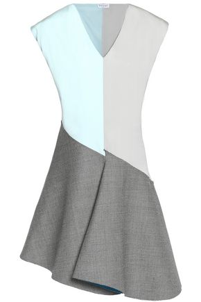 VIONNET Color-block silk-blend and wool dress