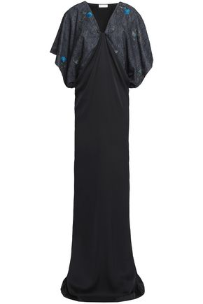 VIONNET Paneled embroidered silk-blend gown