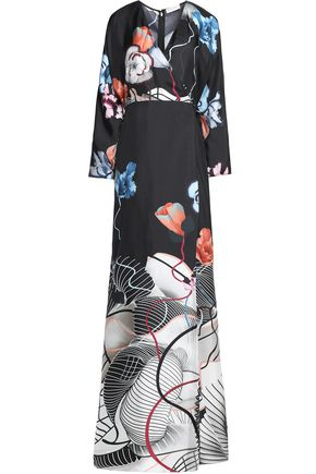 VIONNET Wrap-effect printed silk gown