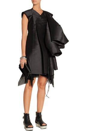 RICK OWENS Folded duchesse-satin coat