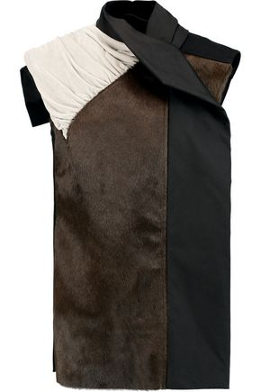 RICK OWENS Paneled calf hair, wool-blend and velvet jacket